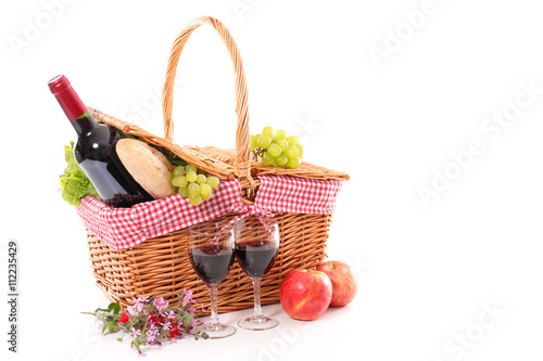 Poster Picnic picnic basket isolated on white