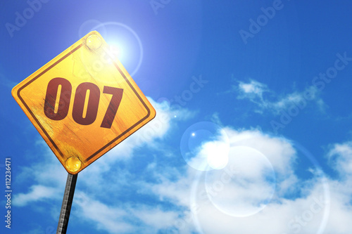 007, 3D rendering, glowing yellow traffic sign плакат
