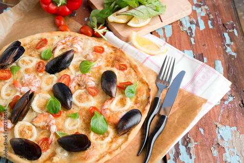 Seafood pizza, mussels, shrimps and squids Canvas Print