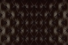 English Brown Genuine Leather Upholstery, Chesterfield Style Background. 3D Rendering
