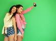 Leinwanddruck Bild - best friends hipster girls standing together with photo camera