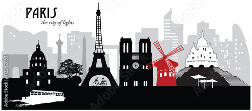 Vector illustration of the skyline cityscape of Paris, France Canvas Print