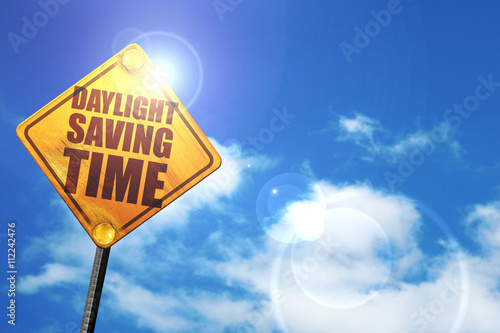 daylight saving time, 3D rendering, glowing yellow traffic sign