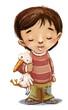 niño feliz con muñeco