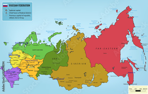 Russian Federation map with selectable territories. Vector – kaufen ...