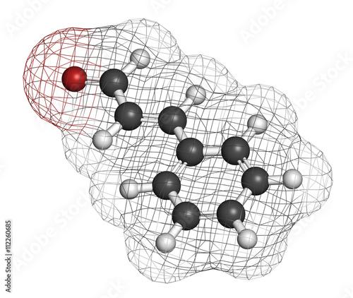 Cinnamaldehyde (cinnamic aldehyde) cinnamon flavor molecule. Canvas Print