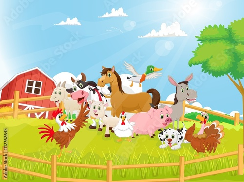 Foto  Illustration of Farm Animals cartoon