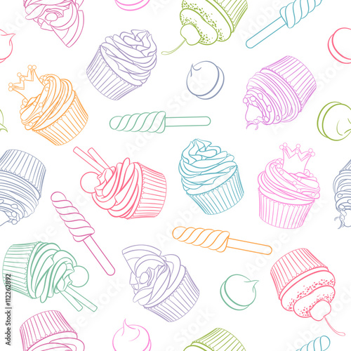 fototapeta na lodówkę Colorful linear cupcake lollipop marshmallow seamless pattern.