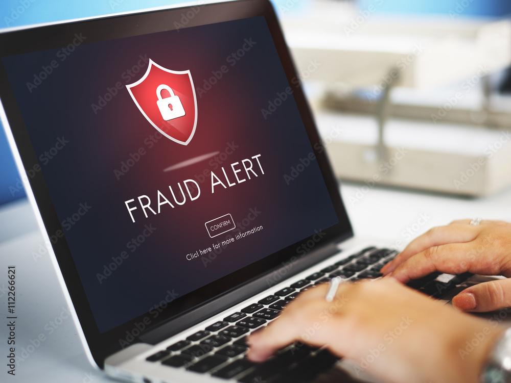 Fototapeta Fraud Alert Caution Defend Guard Notify Protect Concept