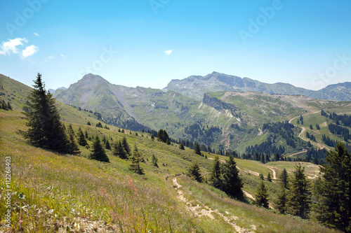 Fotografie, Obraz  A view of european mountains in summertime in Haute Savoie, France
