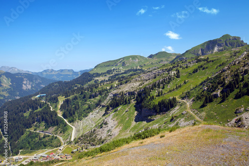 Fotografie, Obraz  Top view of summer mountains in Haute Savoie, France