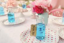 Blue Drinks In Bottles, Alice In Wonderland Tea Party Theme,toning