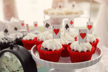 .Red Velvet Cupcakes With Playing Cards Toppers, Alice In Wonderland Tea Party Theme,toning