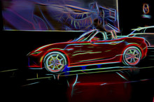 Psychedelic Line Art Sports Car