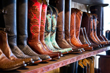 Cowboy Boots Store Shelves. Ha...