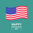 Happy independence day United states of America. 4th of July. Waving American flag. Green background. Isolated. Greeting card. Flat design.