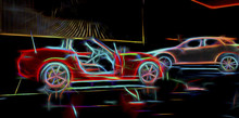 Neon Line Art Of Sports Cars