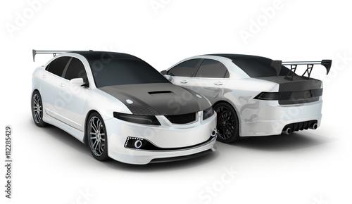 Staande foto Cartoon cars Sport car white and black