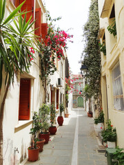 traditional street among bougainvillaea in rethymno city Greece