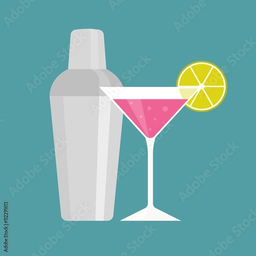 Fotografia  Shaker with pink martini, cocktail and shaker icon, flat design