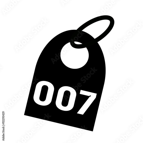 Foto  007 white wording on background black key chain