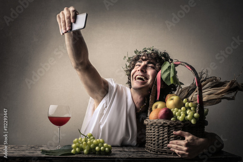 Happy Bacchus doing a selfie Wallpaper Mural