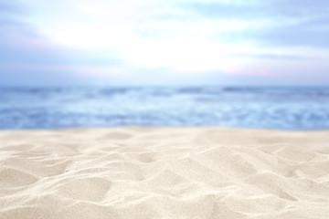 Fototapeta na wymiar beach and sand and sky of blue color