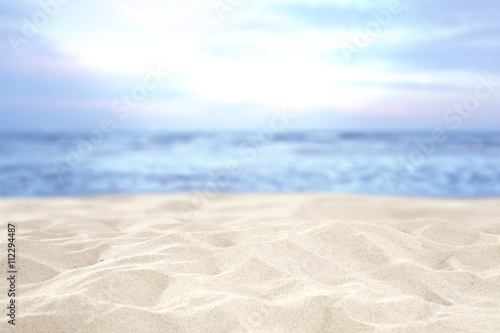 Garden Poster White beach and sand and sky of blue color