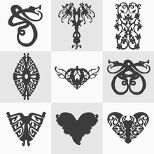Set Of Black Decorative Elemen...