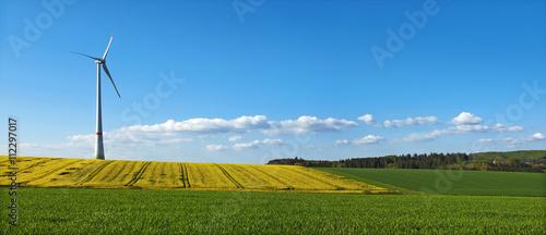 Zdjęcie XXL Panoramiczny panoramiczny obraz z wiatrakiem, pole rzepaku i luźne chmury nad błękitne niebo
