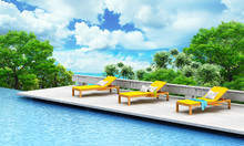 Vacation Concept. Swimming Pool With Loungers And Tree On A Open