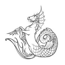 Hippocampus Or Kelpie Supernatural Water Beast. Black And White Sketch.