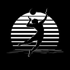Panel Szklany Siatkówka Black and white stripes logo with volleyball player silhouette