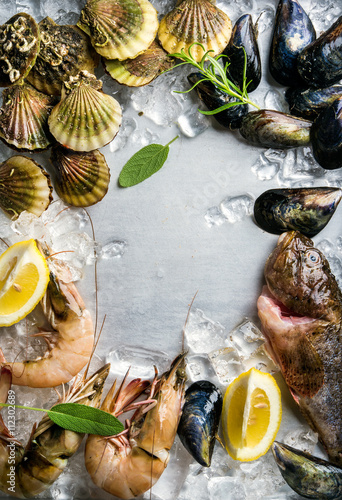 Fotobehang Schaaldieren Fresh seafood with herbs and lemon on ice. Prawns, fish, mussels, scallops over steel metal background. Top view, copy space