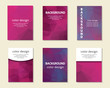 Purple, pink polygon cards, covers, postcards collection.