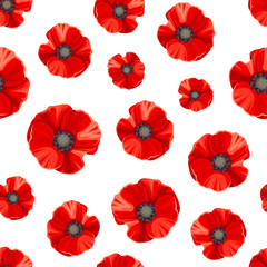 Panel Szklany Maki Vector seamless pattern with red poppies on a white background.