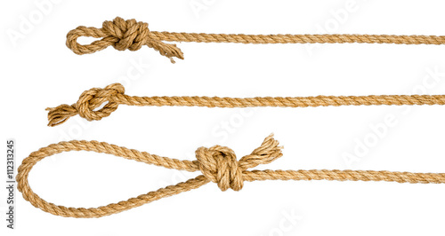 Fototapeta Rope loop and knots isolated on white background obraz