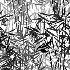 Panel Szklany Bambus monochrome tropical bamboo vector seamless pattern on a black background