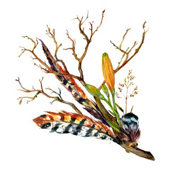 Panel Szklany Boho Watercolor Tiger lily