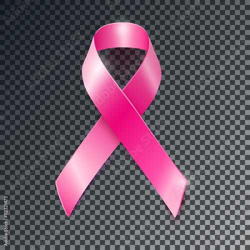 Obraz na plátně Vector pink ribbon breast cancer awareness symboll