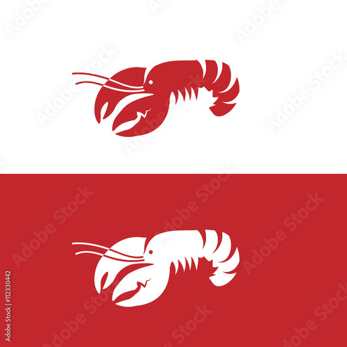 Fotografie, Obraz Red lobster on white and red background
