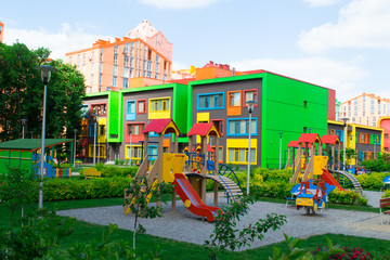 Modern and Colorful Kindergarten School Building