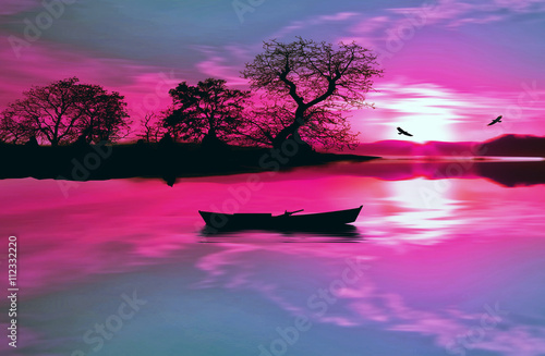 Tuinposter Roze illustration of beautiful colorful sundown landscape