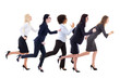 deadline concept - side view of running business women isolated