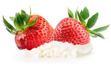 Strawberries With Whipped Cream Isolated On The White Background