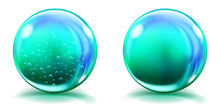 Two Big Light Blue Glass Spheres With Air Bubbles And Without, And With Glares And Shadows. Transparency Only In Vector File