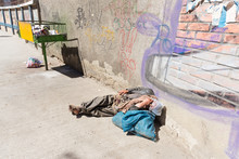 Homeless Barefoot Lying Sleeping Street, La Paz, Bolivia.