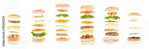 Recess Fitting Snack six different sandwiches floating