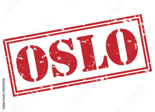 oslo red stamp on white background Poster