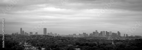 Foto op Canvas Stad gebouw Black and White Panorama of Boston